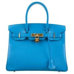 Hermes NEW Birkin 30 Aqua Blue Leather Gold Top Handle Satchel Tote Bag