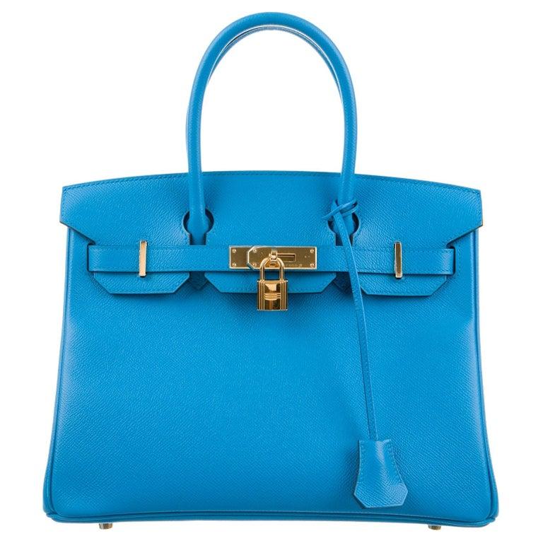 Hermes NEW Birkin 30 Aqua Blue Leather Gold Top Handle Satchel Tote Bag  For Sale