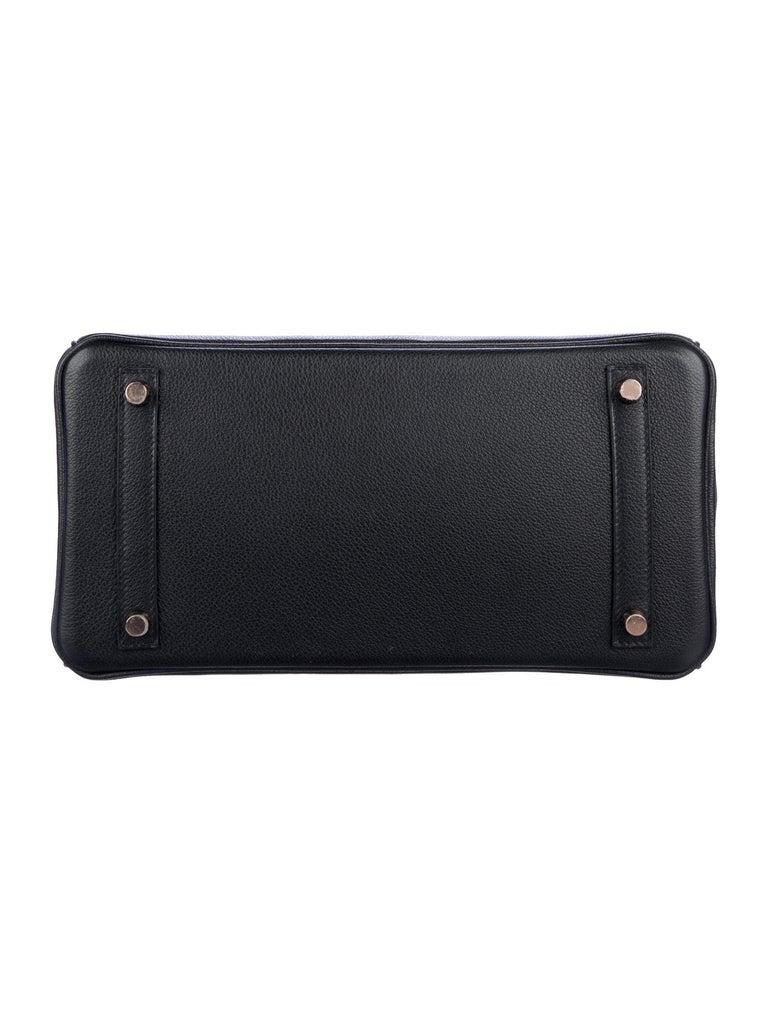 Women's Hermes NEW Birkin 30 Black Crocodile Rose Gold Top Handle Satchel Tote Bag W/Box For Sale
