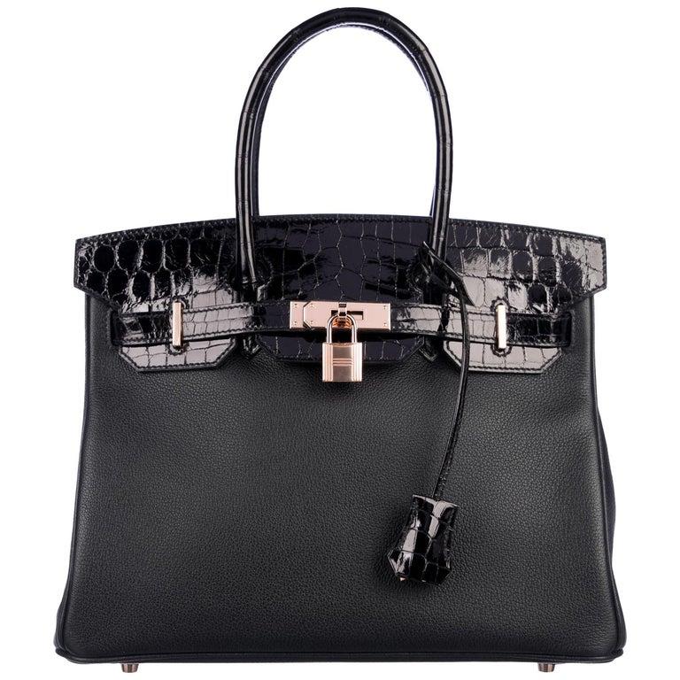 Hermes NEW Birkin 30 Black Crocodile Rose Gold Top Handle Satchel Tote Bag W/Box For Sale