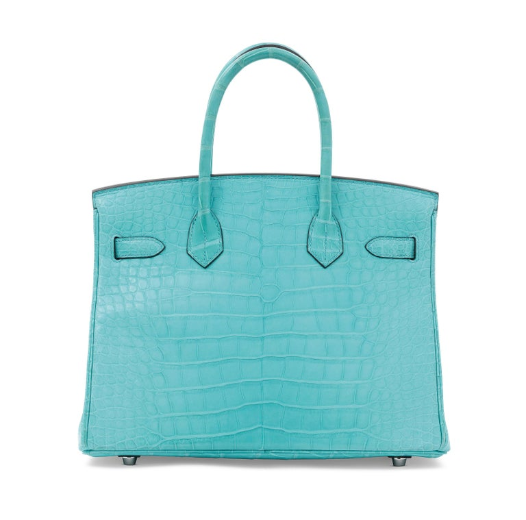 Women's Hermes NEW Birkin 30 Blue Alligator Exotic Top Handle Satchel Tote Bag in Box For Sale