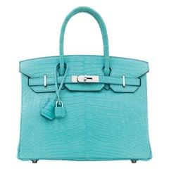 Hermes NEW Birkin 30 Blue Alligator Exotic Top Handle Satchel Tote Bag in Box