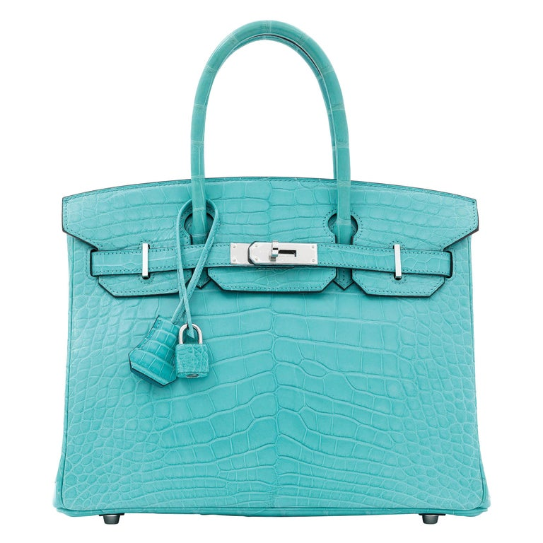 Hermes NEW Birkin 30 Blue Alligator Exotic Top Handle Satchel Tote Bag in Box For Sale