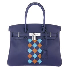 Hermes NEW Birkin 30 Blue Checker Leather Top Handle Satchel Tote Bag in Box