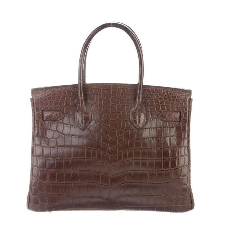 Black Hermes NEW Birkin 30 Crocodile Exotic Top Handle Satchel Tote Bag in Box For Sale