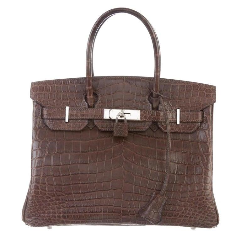 Hermes NEW Birkin 30 Crocodile Exotic Top Handle Satchel Tote Bag in Box For Sale