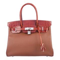 Hermes NEW Birkin 30 Cognac Crocodile Gold Top Handle Satchel Tote Bag W/Box