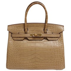 Hermes NEW Birkin 30 Taupe Tan Alligator Gold Top Handle Satchel Tote Bag W/Box