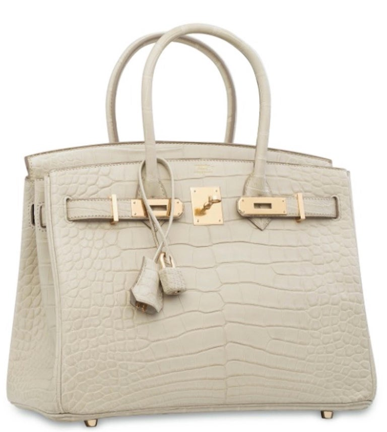 Hermes NEW Birkin 30 Cream Ivory Crocodile Exotic Top Handle Satchel Tote Bag  In New Condition For Sale In Chicago, IL