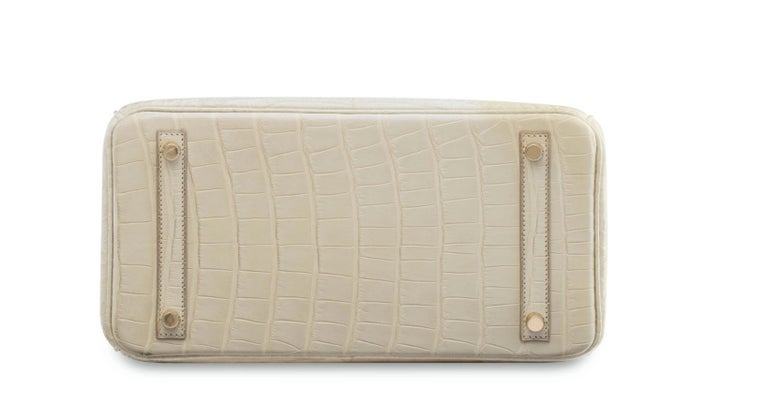 Women's Hermes NEW Birkin 30 Cream Ivory Crocodile Exotic Top Handle Satchel Tote Bag  For Sale