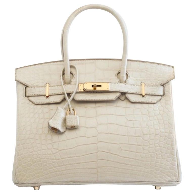 Hermes NEW Birkin 30 Cream Ivory Crocodile Exotic Top Handle Satchel Tote Bag  For Sale