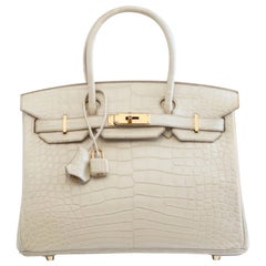 Hermes NEW Birkin 30 Cream Ivory Alligator Exotic Top Handle Satchel Tote Bag