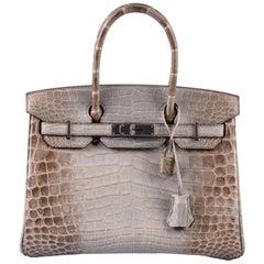 Hermes NEW Birkin 30 Gris Himalayan Crocodile Exotic Top Handle Tote Bag in Box