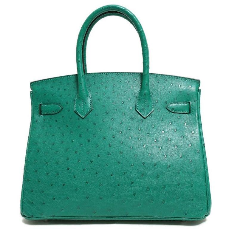Women's Hermes NEW Birkin 30 Kelly Green Ostrich Exotic Skin Top Handle Satchel Bag