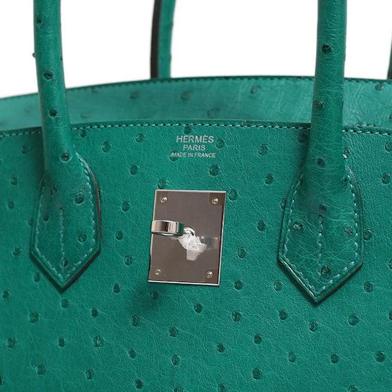 Hermes NEW Birkin 30 Kelly Green Ostrich Exotic Skin Top Handle Satchel Bag 3