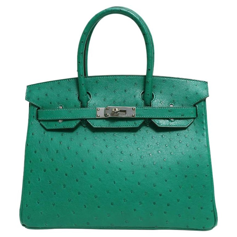 Hermes NEW Birkin 30 Kelly Green Ostrich Exotic Skin Top Handle Satchel Bag