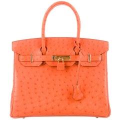 Hermes NEW Birkin 30 Orange Exotic Gold Top Handle Satchel Tote Bag in Box