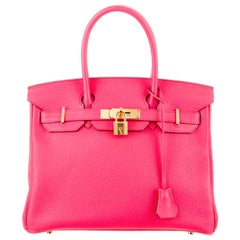 Hermes NEW Birkin 30 Pink Leather Gold Top Handle Satchel Tote Bag