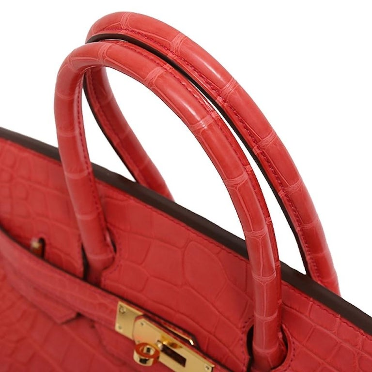 Hermes NEW Birkin 30 Pink Red Alligator Exotic Gold Top Handle Satchel Tote Bag In New Condition For Sale In Chicago, IL