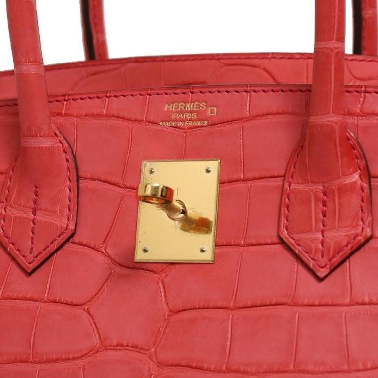 Women's Hermes NEW Birkin 30 Pink Red Alligator Exotic Gold Top Handle Satchel Tote Bag For Sale