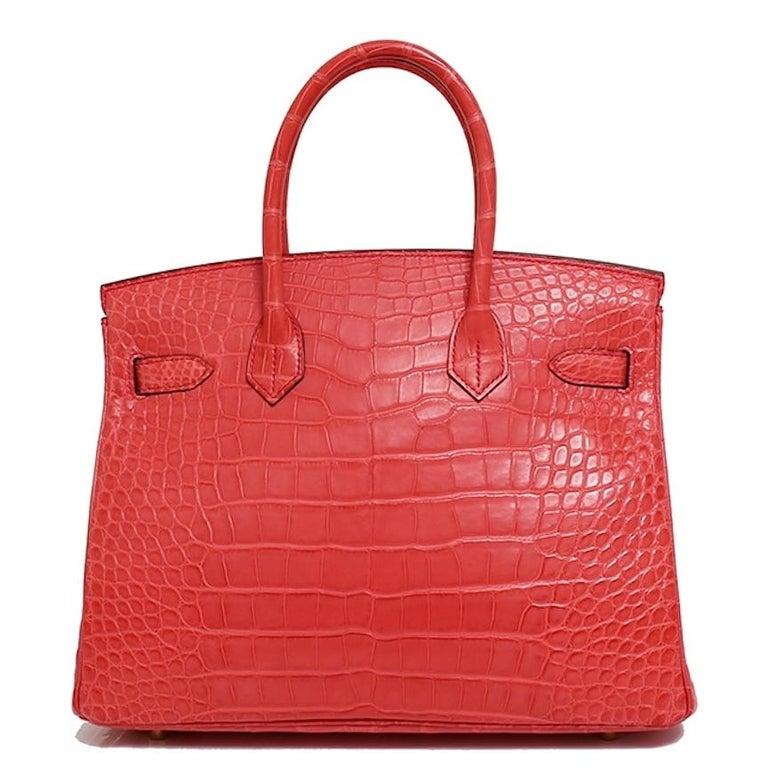 Hermes NEW Birkin 30 Pink Red Alligator Exotic Gold Top Handle Satchel Tote Bag For Sale 1