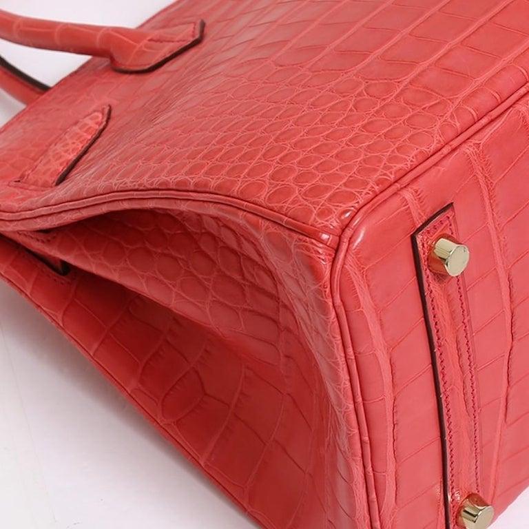 Hermes NEW Birkin 30 Pink Red Alligator Exotic Gold Top Handle Satchel Tote Bag For Sale 2