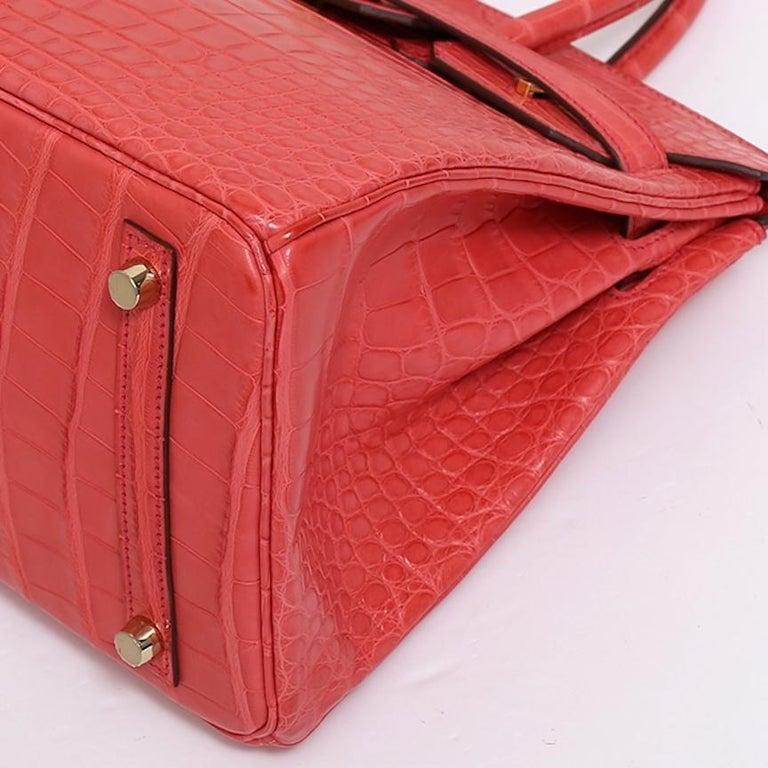Hermes NEW Birkin 30 Pink Red Alligator Exotic Gold Top Handle Satchel Tote Bag For Sale 3