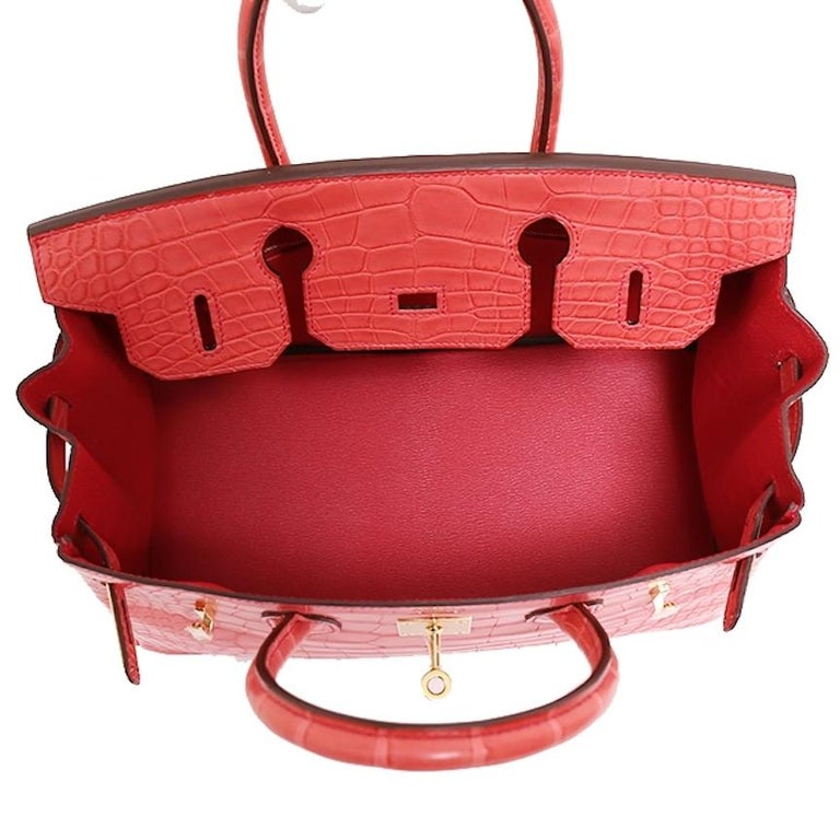 Hermes NEW Birkin 30 Pink Red Alligator Exotic Gold Top Handle Satchel Tote Bag For Sale 4