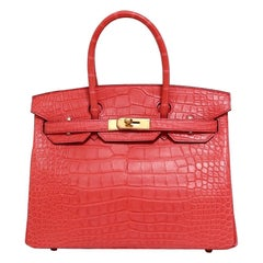 Hermes NEW Birkin 30 Pink Red Alligator Exotic Gold Top Handle Satchel Tote Bag
