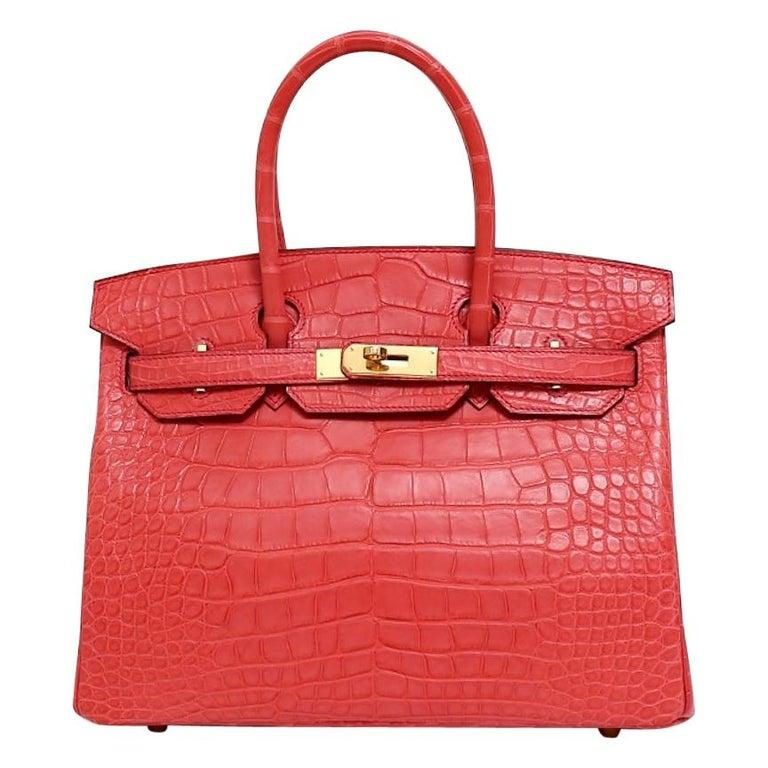 Hermes NEW Birkin 30 Pink Red Alligator Exotic Gold Top Handle Satchel Tote Bag For Sale