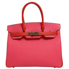 Hermes NEW Birkin 30 Pink Red Leather Gold Top Handle Satchel Tote Bag