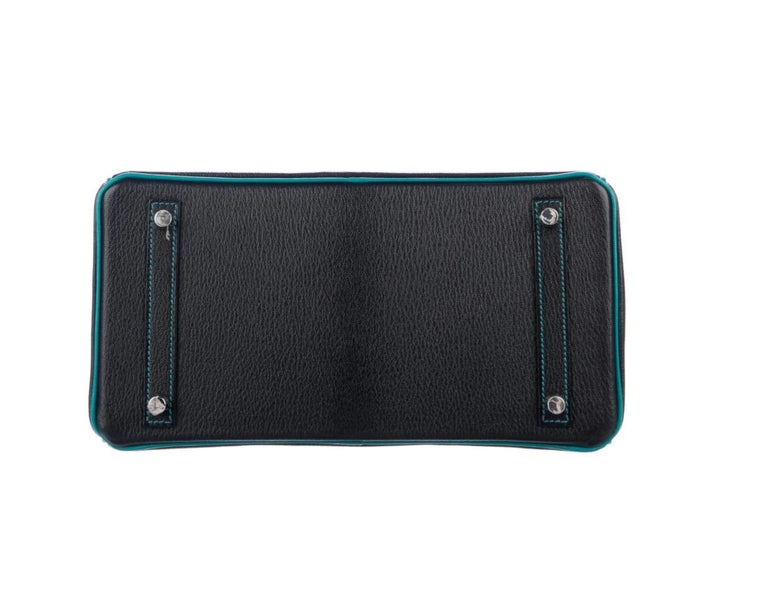 Women's Hermes NEW Birkin 30 Special Black Teal Green Top Handle Satchel Tote Bag in Box For Sale