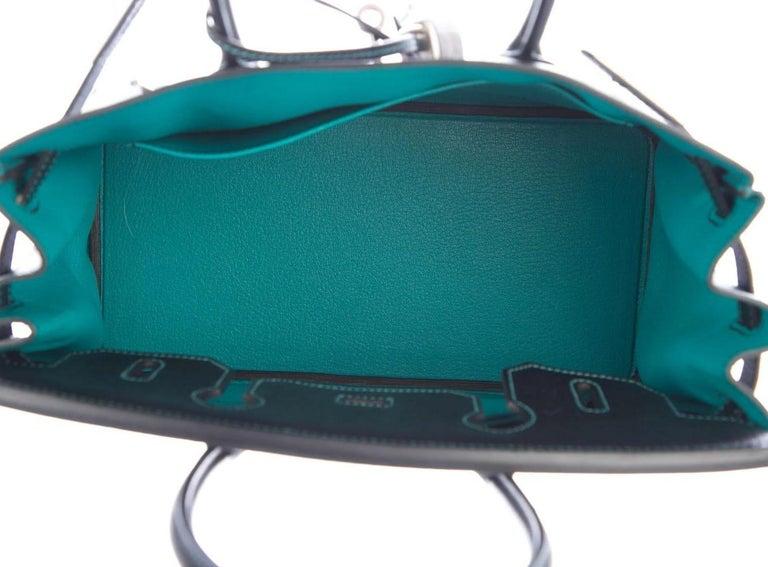 Hermes NEW Birkin 30 Special Black Teal Green Top Handle Satchel Tote Bag in Box For Sale 1