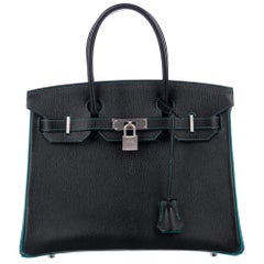 Hermes NEW Birkin 30 Special Black Teal Green Top Handle Satchel Tote Bag in Box