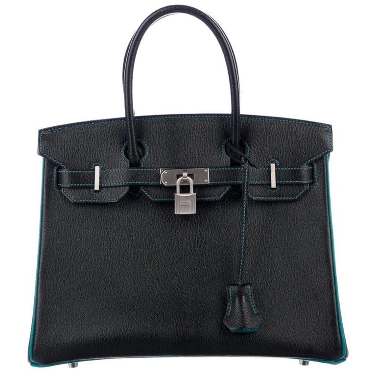 Hermes NEW Birkin 30 Special Black Teal Green Top Handle Satchel Tote Bag in Box For Sale