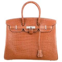Hermes NEW Birkin 35 Cognac Alligator Exotic Top Handle Satchel Tote Bag in Box