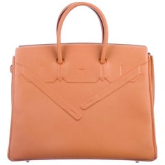 Hermes NEW Birkin 35 Cognac Brown Palladium Top Handle Satchel Tote Bag in Box