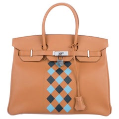 Hermes NEW Birkin 35 Cognac Checker Leather Top Handle Satchel Tote Bag in Box