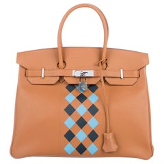 Hermes NEW Birkin 35 Cognac Checker Leather Top Handle Satchel Tote Bag in Box