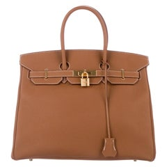Hermes Birkin 35 Cognac Leather Gold Top Handle Satchel Tote Bag in Box