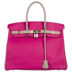 Hermes NEW Birkin 35 Fuschia Gray Leather Carryall Top Handle Tote Bag in Box