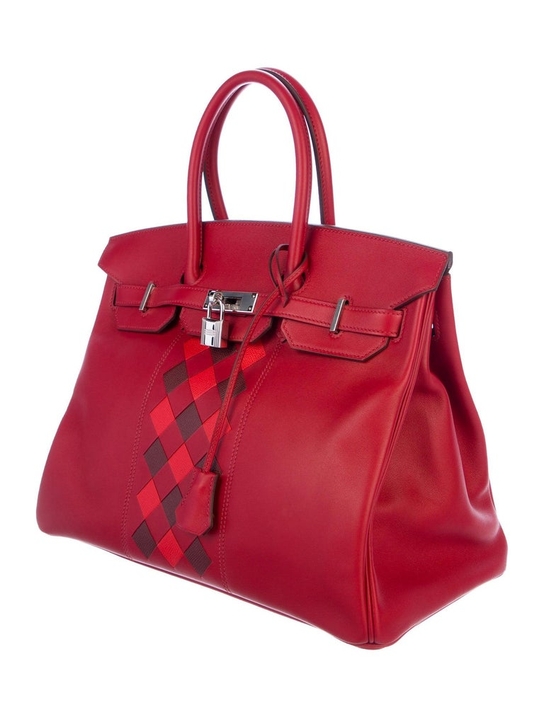 Hermes NEW Birkin 30 Red Checker Leather Top Handle Satchel Tote Bag in Box  In New Condition In Chicago, IL