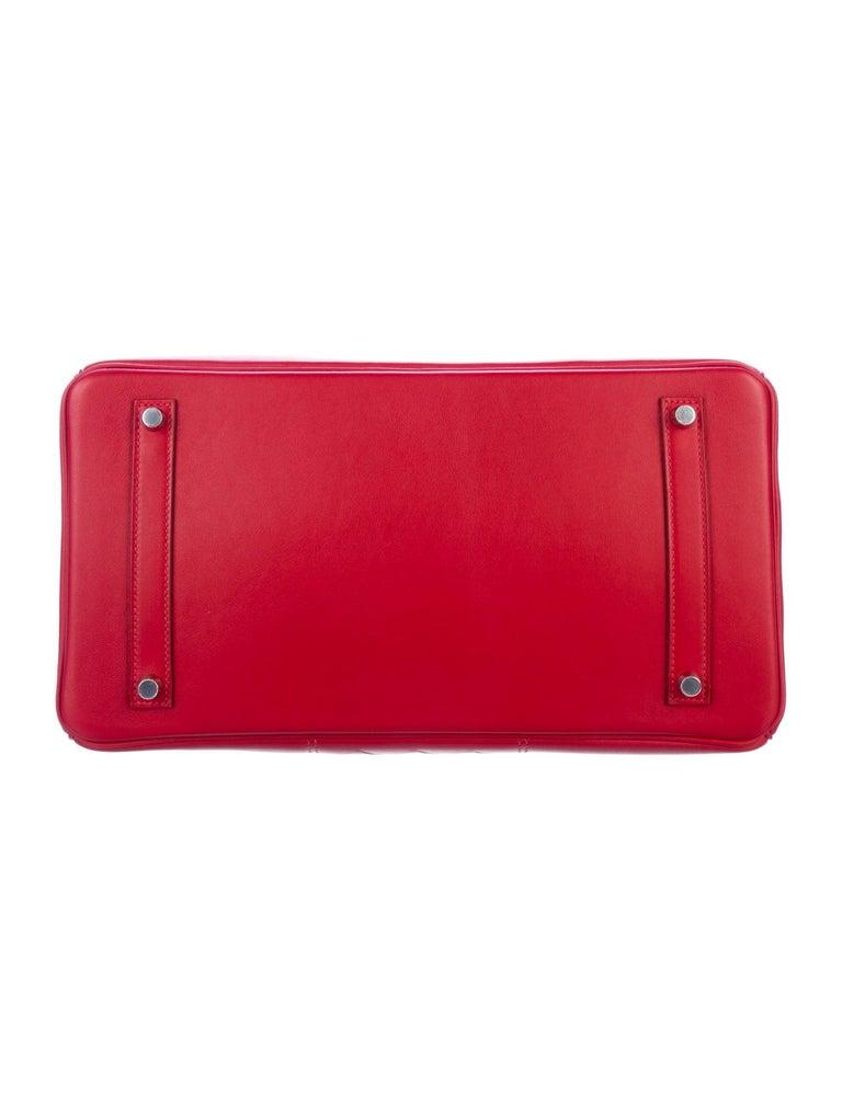 Women's Hermes NEW Birkin 30 Red Checker Leather Top Handle Satchel Tote Bag in Box