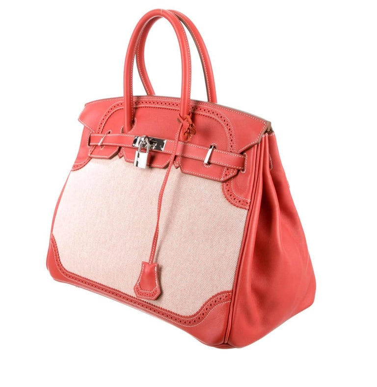 Leather  Toile Palladium-plated hardware Leather lining Turn-lock closure  Made in France Handle drop 4