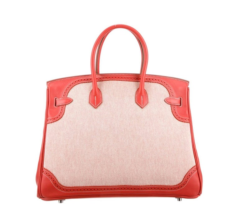 Hermes NEW Birkin 35 Red Leather Canvas Palladium Top Handle Tote Bag in Box In New Condition For Sale In Chicago, IL