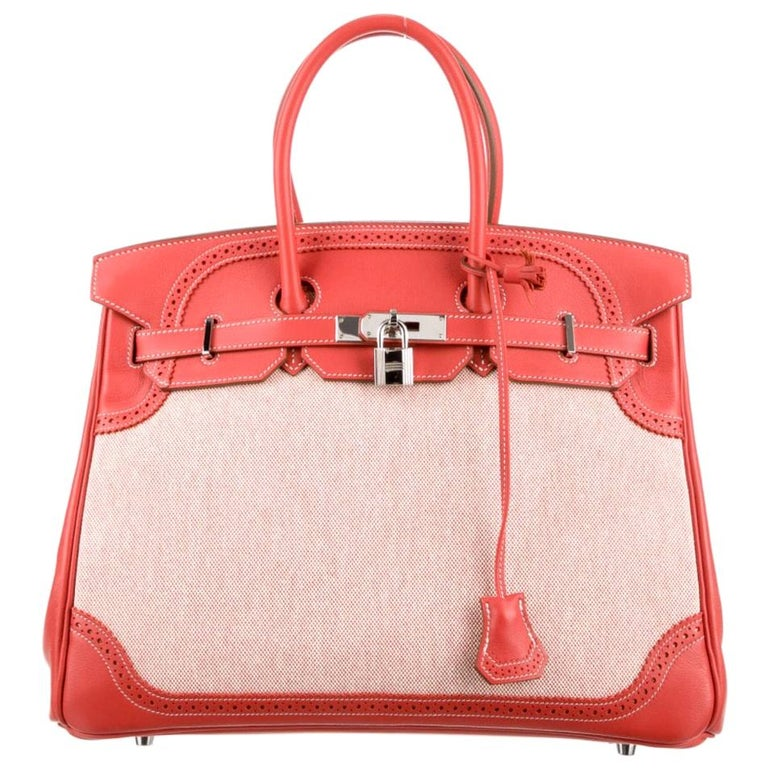 Hermes NEW Birkin 35 Red Leather Canvas Palladium Top Handle Tote Bag in Box For Sale