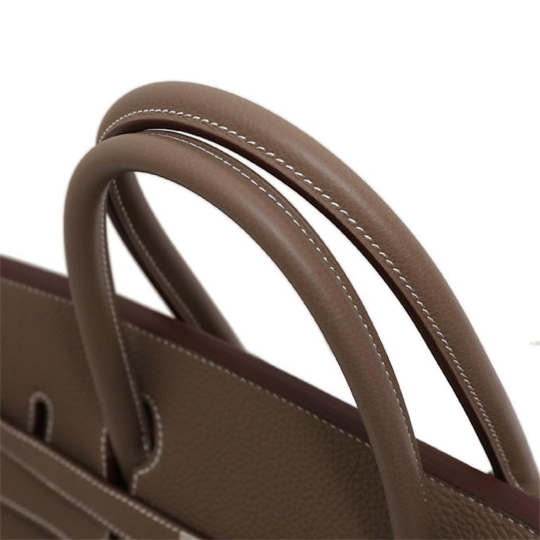 Hermes NEW Birkin 40 Taupe Tan Men's Carryall Travel Top Handle Satchel Tote Bag In New Condition For Sale In Chicago, IL