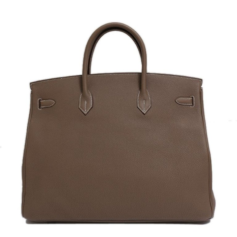 Women's Hermes NEW Birkin 40 Taupe Tan Men's Carryall Travel Top Handle Satchel Tote Bag For Sale