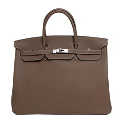 Hermes NEW Birkin 40 Taupe Tan Men's Carryall Travel Top Handle Satchel Tote Bag