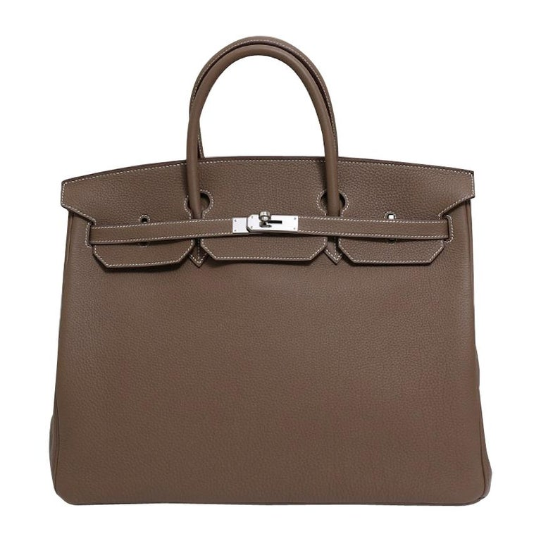 Hermes NEW Birkin 40 Taupe Tan Men's Carryall Travel Top Handle Satchel Tote Bag For Sale